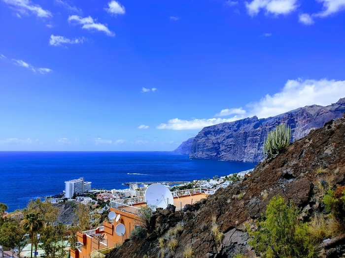 View of Los Gigantes, a town and the sea