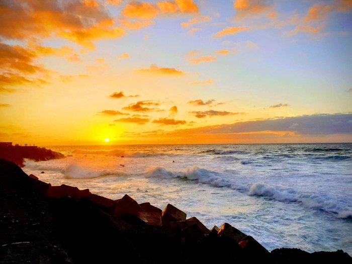 View of the sunset and the sea at Puerto de la Cruz, Tenerife