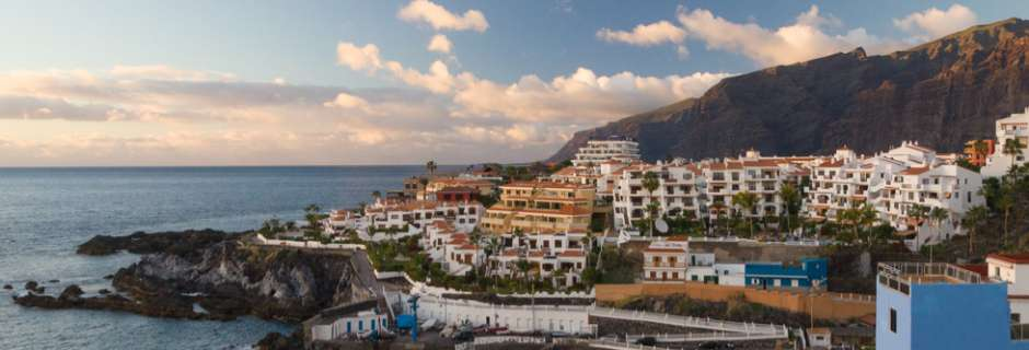 View of Los Gigantes town and cliffs, Tenerife