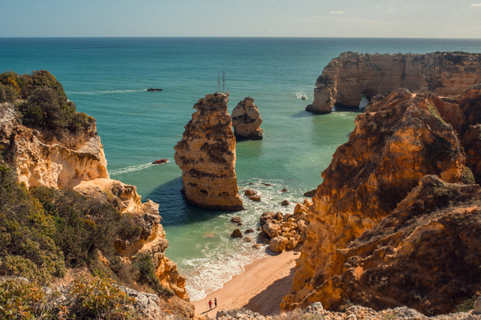 Rocky cliffs and a beach in Albufeira, the Algarve, Portugal