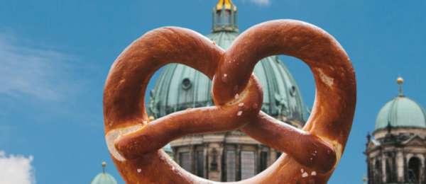 German pretzel in front of Berlin cathedral