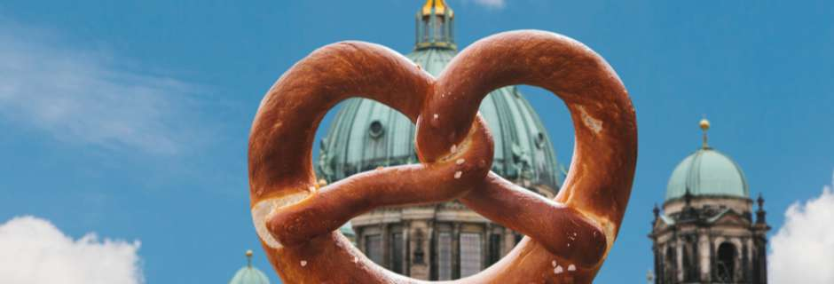 German pretzel in front of Berlin cathedral
