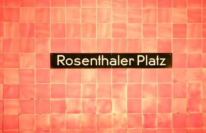 Berlin u-bahn station sign for Rosenhaler Platz
