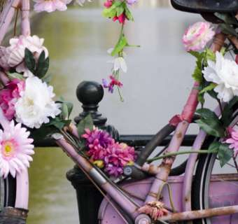 Bike on Amsterdam canal, decorated with pink flowers