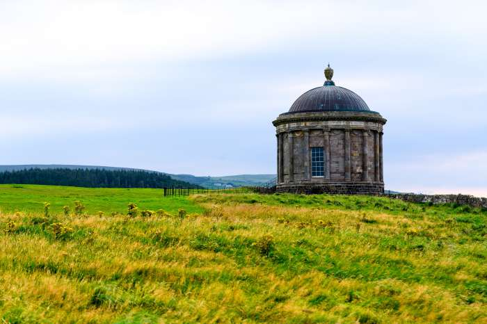 Mussenden Temple with the sea in the background