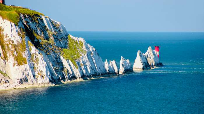 The Needles extending out to sea