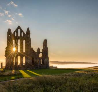 Whitby Abbey with a sun star