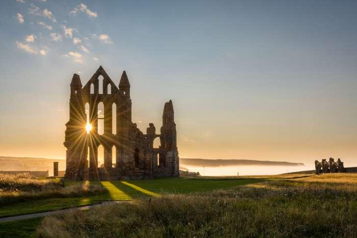 Whitby Abbey with a sun star