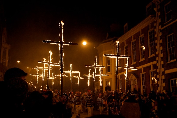Lewes Bonfire Night Parade with Flaming Crosses