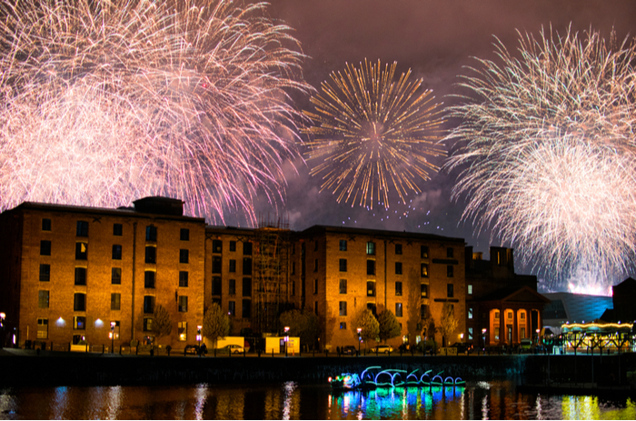 Firework display at Liverpool's River of Light Festival
