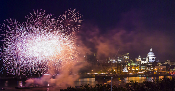 Bonfire Night Celebrations and Fireworks in London, next to the Thames