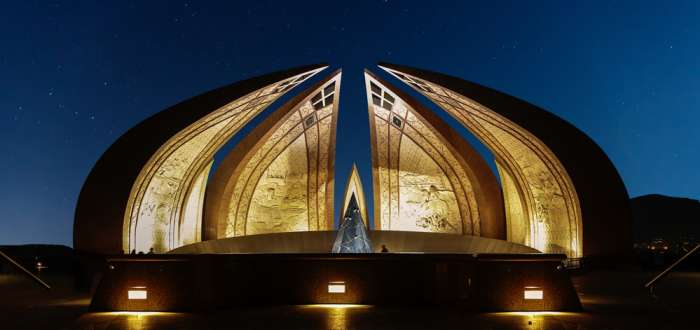 Islamabad Monument lit up at night