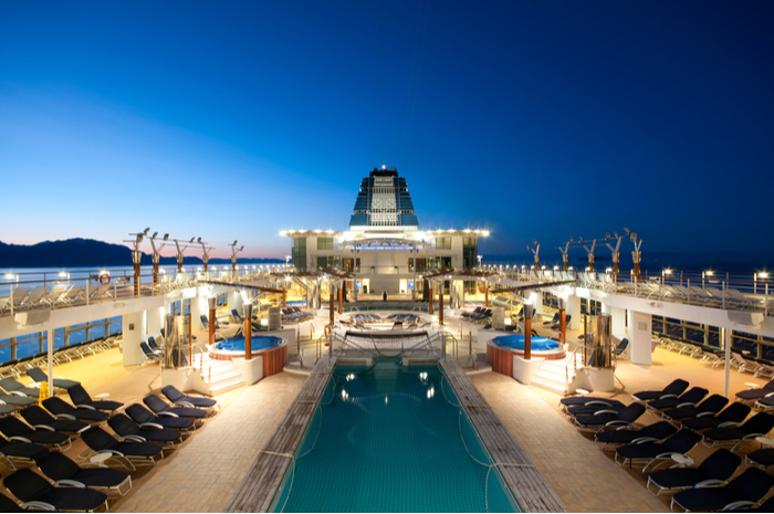 Pool deck on cruise ship at night