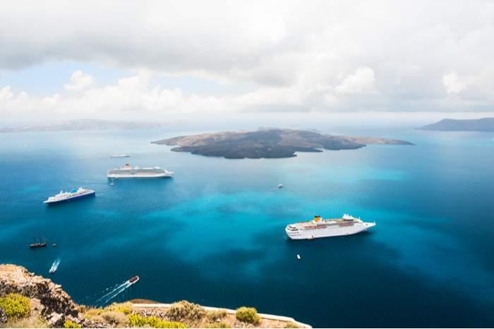 Cruise ship near Greek Islands