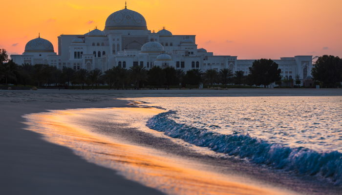 Sunset on the beach behind the Presidential Palace in Abu Dhabi