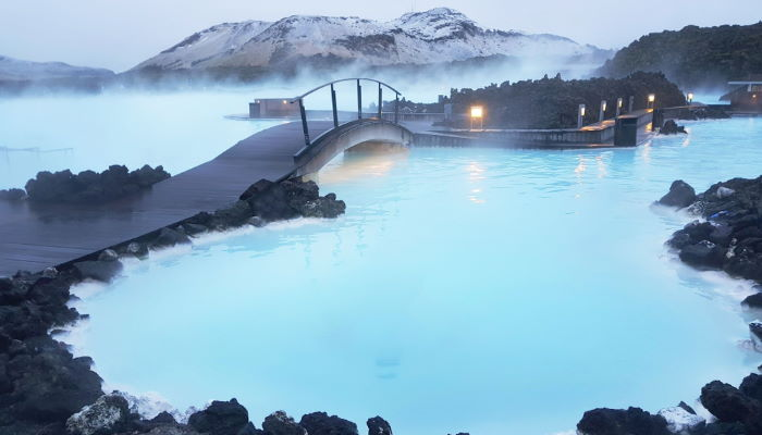 The Blue Lagoon in Iceland before sunset