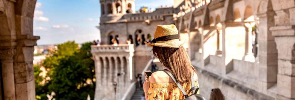 Girl on phone in Budapest