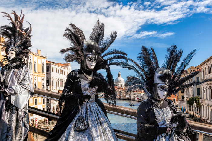 People dressed in masks at Venice Carnival