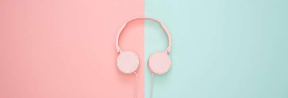 headphones on a pastel backdrop