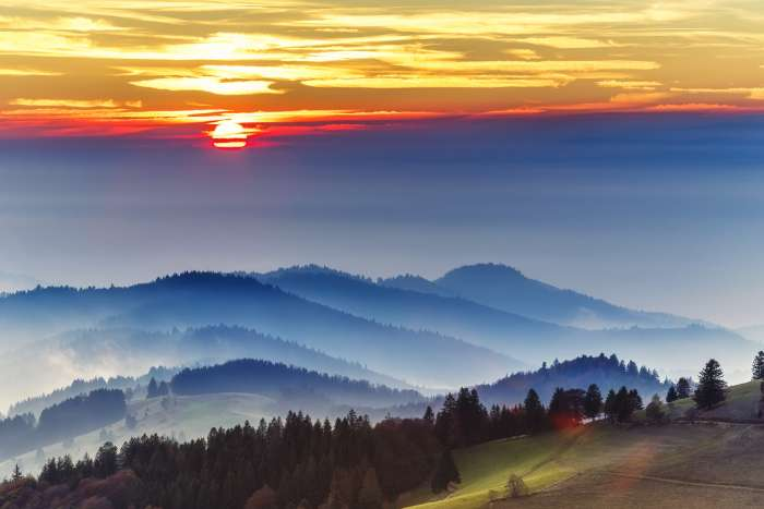 Orange sunset over Black Forest, Germany, with mist falling on the trees