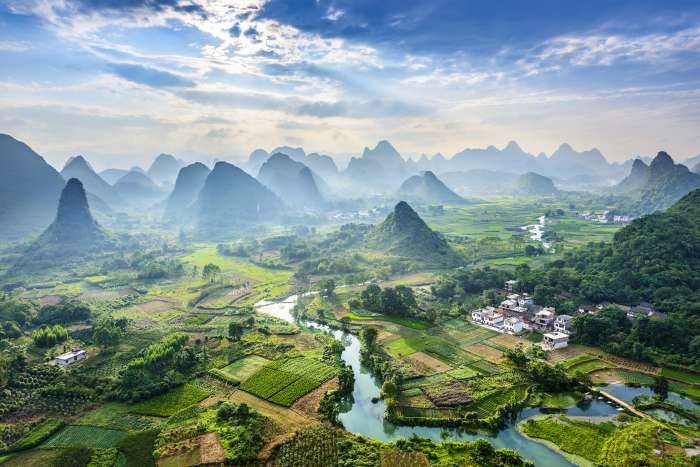 Aerial view of Guilin, Li River and Karst mountains in China