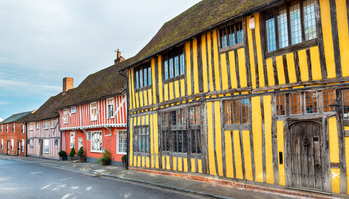 picture of colourful Tudor houses