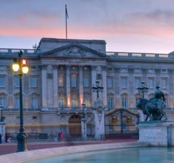 Buckingham Palace as dusk