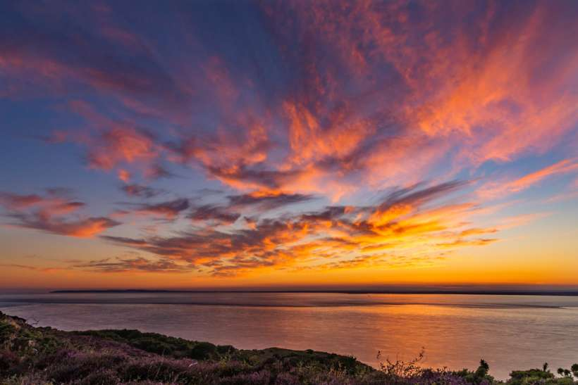 Colourful sunset Isle of Wight