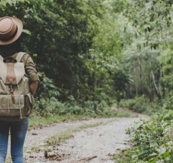 Woman hiking alone
