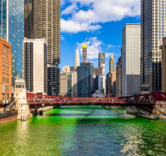 The Chicago River turned green for St Patrick's Day