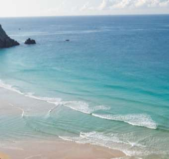 View of the Cornish beach from the cliffs