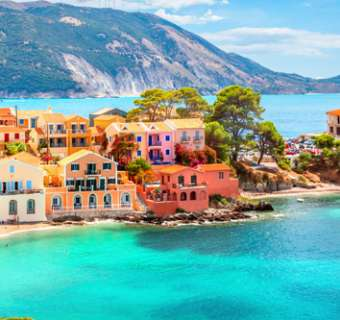 The town of Assos on the island of Kefalonia
