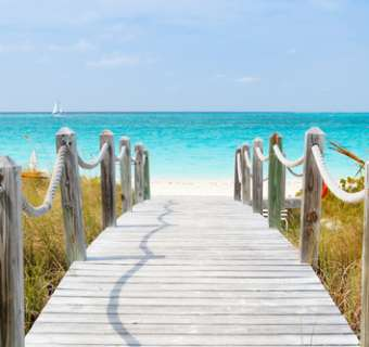 Turks and Caicos islands, walkway to the beach