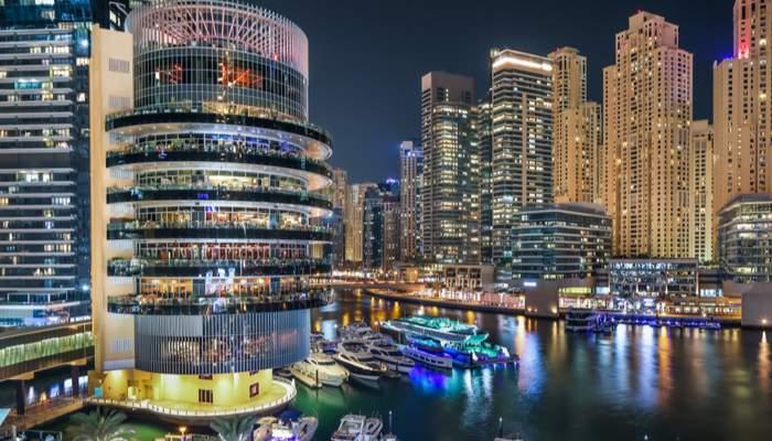 Dubai marina view at night