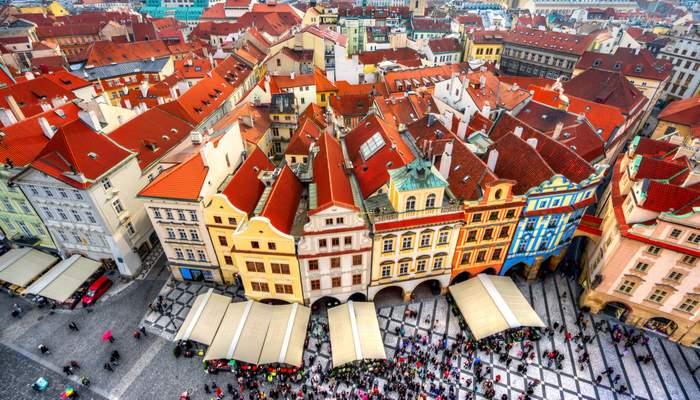 Prague aerial shot