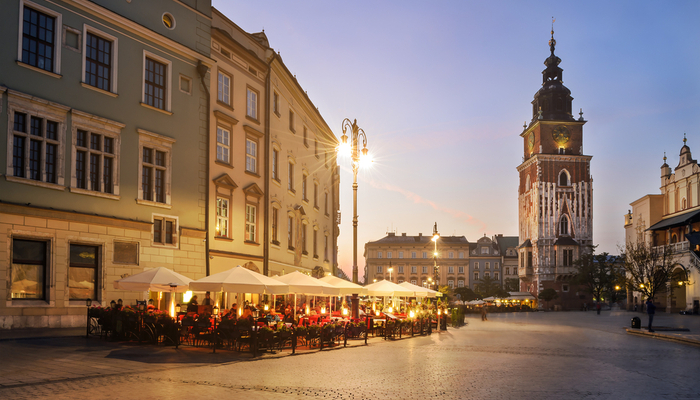 Picture of outdoor seating in a square in Krakow, Poland