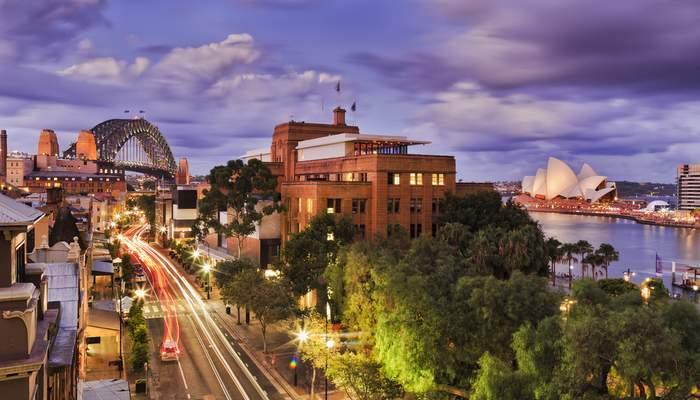 Sydney street view feat. the Sydney Opera House and the Sydney Harbour Bridge