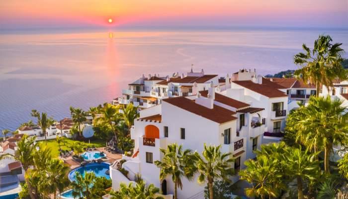 Sunrise in Puerto de Santiago city, Atlantic Ocean coast, Tenerife, Canary island, Spain