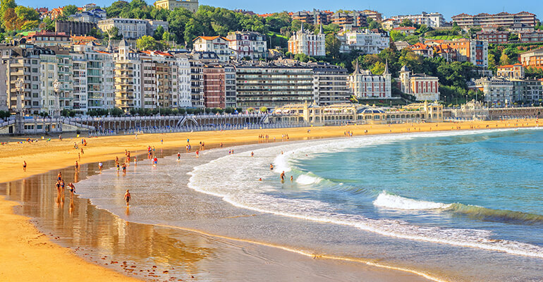 White sands of San Sebastian Beach in Spain
